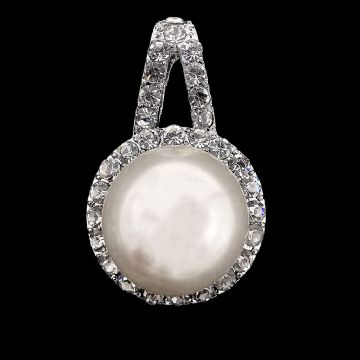 Silver Plated Pearl and Rhinestone Pendant 34mm x 1 pcs